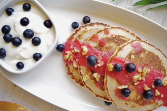 oatmeal pancakes + raspberry and nectarine sauce